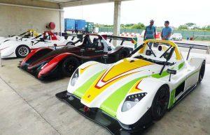 Suzuki motors to be used by Krisitan Jeffrey, Mark Vieira and Calvin Ming on display yesterday. (Bushy Park Barbados facebook)
