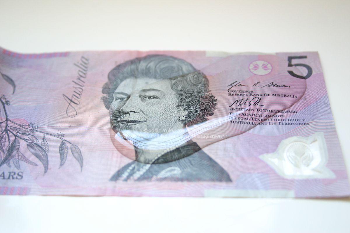 オーストラリアのポリマー製の5ドル札