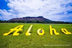 alohaの文字のパブリックアート