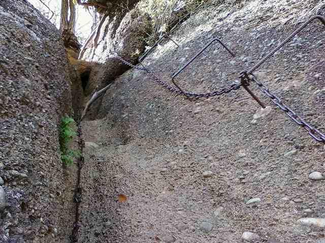 岩殿山から稚児落としへの登山道。鎖場