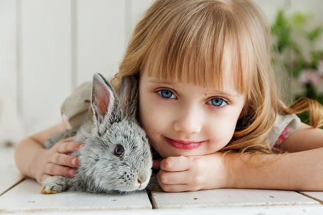 少女とウサギ