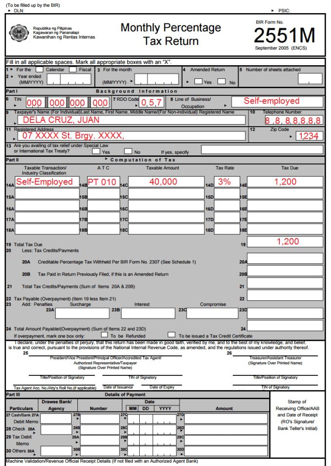 BIR form 2551M