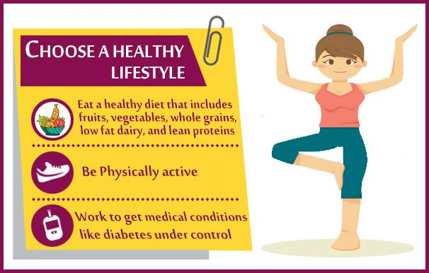 Choose healthy lifestyle with nutritious diet & exercise.
