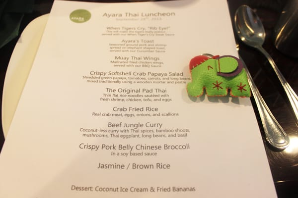 Ayara Thai Menu