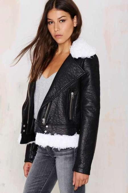 Nasty Gal Tara Shearling Moto Jacket
