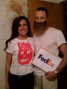 "Chuck and Wilson the volleyball from ""Castaway"" Halloween Costume #halloween #halloweencostume #halloweencouplecostume #couplecostume #diycostume #diyhalloween #diyhalloweencostume #KAinspired www.kainspired.com"