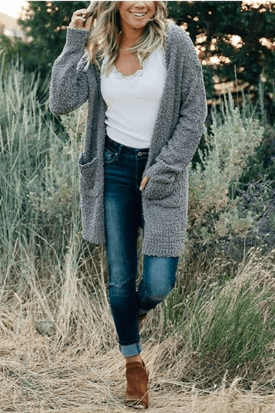 Long Sleeve Soft Chunky Knit Sweater Open Front Cardigan Outwear with Pockets