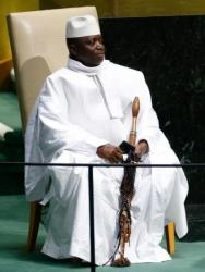 Yahya Jammeh, President of the Republic of the Gambia, addresses the 69th United Nations General Assembly at the U.N. headquarters in New York September 25, 2014.           REUTERS/Lucas Jackson