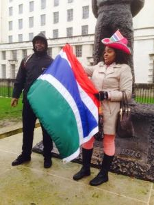 Modou Ndow at anti Gambia government protest.