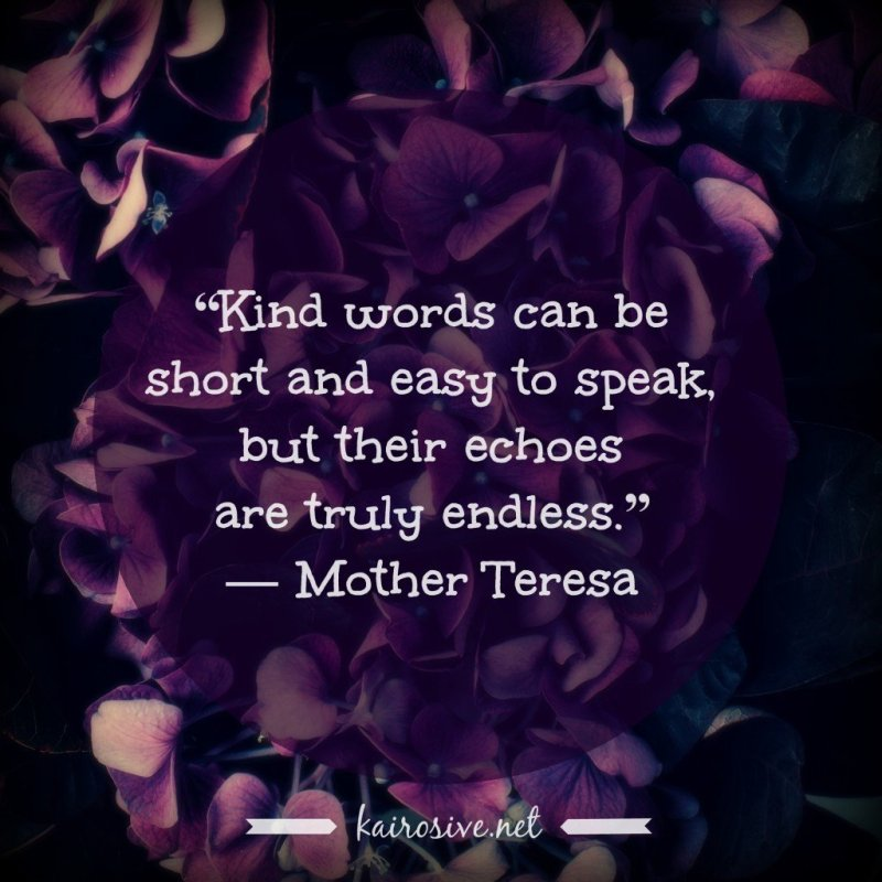 """Kind words can be short and easy to speak, but their echoes are truly endless."" ― Mother Teresa"