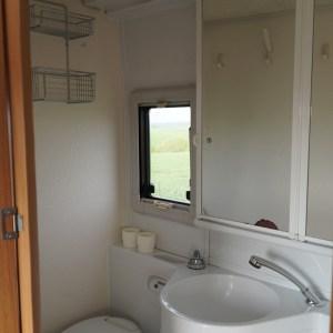 Das Bad mit Toilette, Waschbecken und Dusche