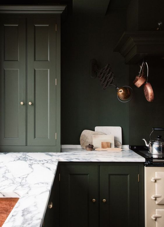 home decor trends 2020 - dark green kitchen cabinets