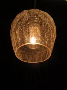 レトロ風 みかん柄 ヒビ加工ガラス照明 中古品