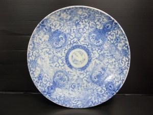 時代物 古染付 唐草紋 中皿 直径 約31.3cm 中古品