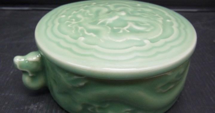 陶器製 灰皿 小物入れ 龍模様 中古品