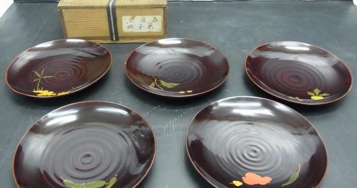 春慶塗 菓子皿 5客セット 共箱 漆器 銘銘皿 中古品