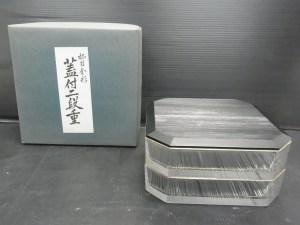 HOYA ホヤ クリスタル 柾目金彩 蓋付二段重 重箱 未使用品