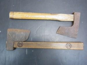 古民具 昭和レトロ 鉄斧 2個セット 在銘 中古品