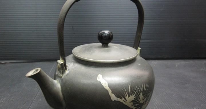 茶道具 本錫 急須 松紋様 約562g 中古品