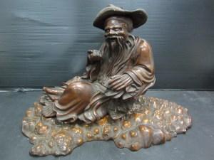 美術 木製 一刀彫 おじいさん像 台付き 高さ 約26cm 中古品