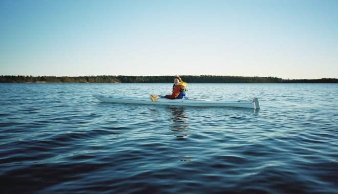 En av de första kajakturerna på Västersjön hemmavid