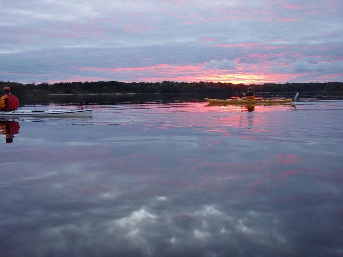 Kvällspaddling med fin solnedgång
