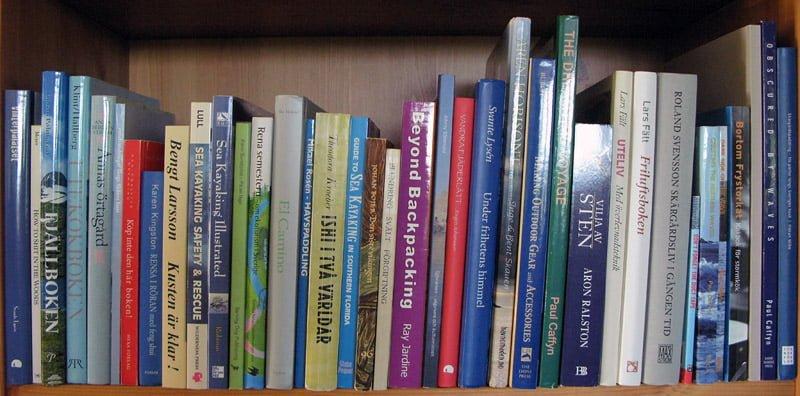 En hylla böcker i bokhyllan