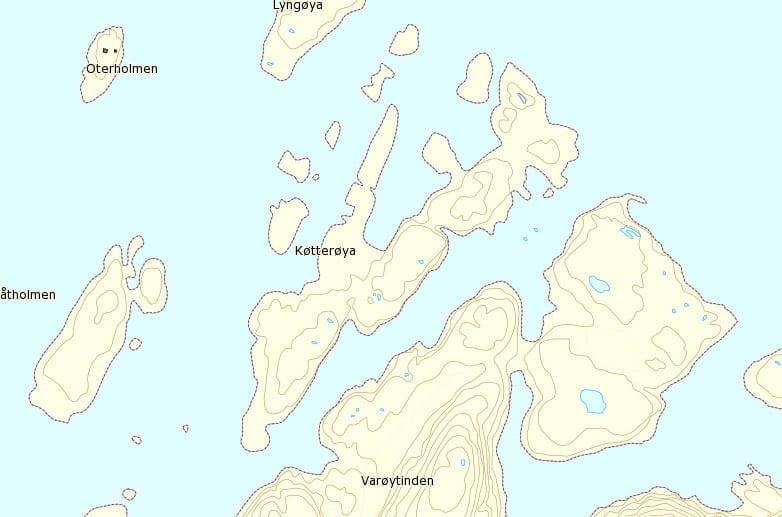 Køtterøya på landkartan