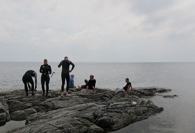 Några snorklade och andra spanade på vattnet