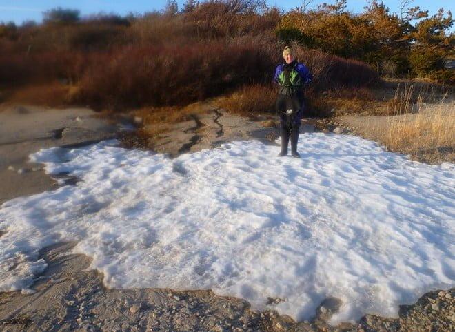 Den enda snön på turen hittade vi på södra delen av Lilla Hamburgö