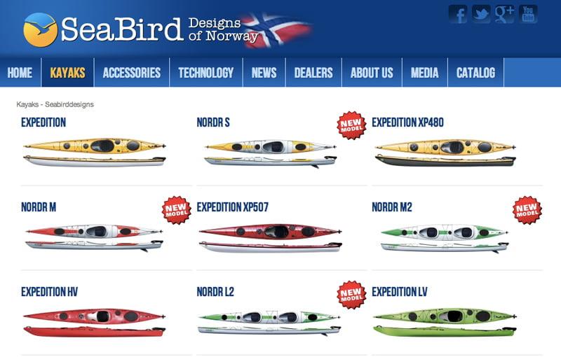 Seabird designs kajaker
