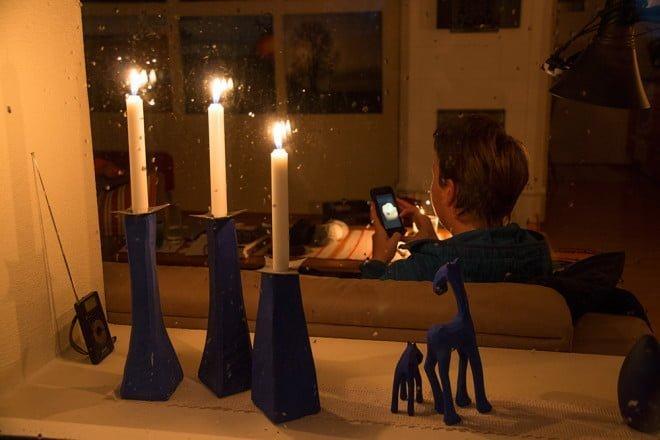 Stearinljusmys och stearinsljusfoto