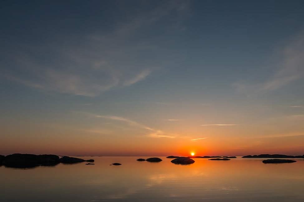 Solnedgång sedd från Vassholmen