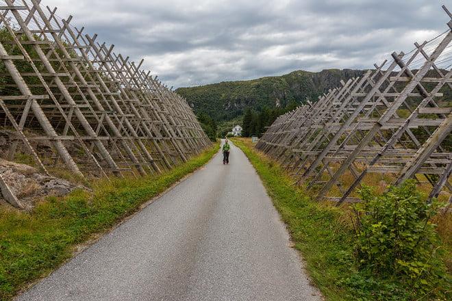 Stora torkställningar i byn på Nesøy. Tyvärr tomma.