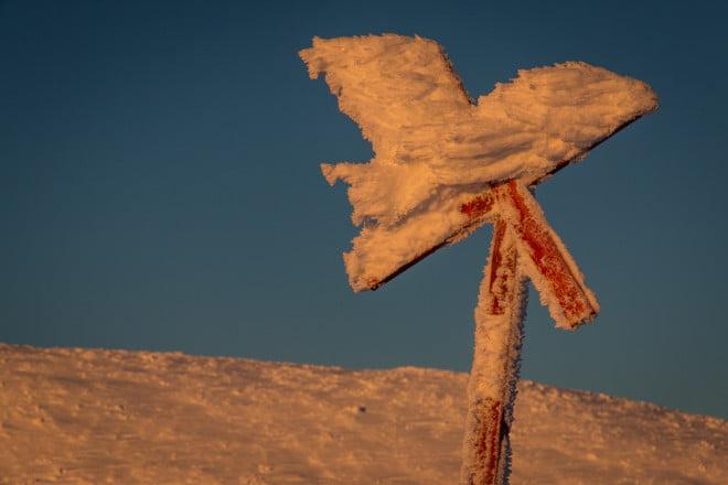 Ledkryss med snöinslag