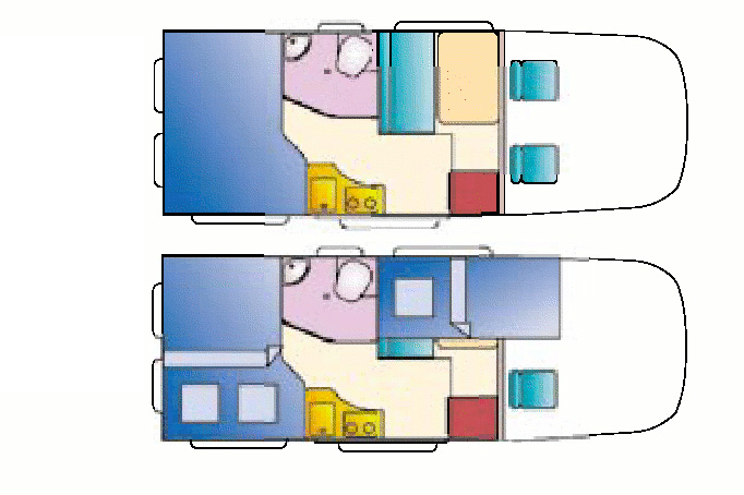 Planlösning Adria Win. Sängen bak, köket mellan säng och sidodörr och så kyl/skåp precis bakom passagerarsätet. På andra sidan toalett och dusch vid sängen och sen sittgrupp/extrabädd.