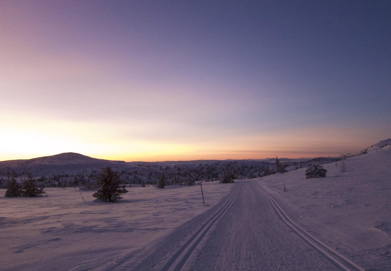 Solnedgång i Trysil i slutet av januari. Vilken superdag