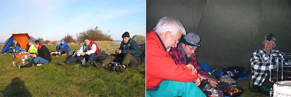 Lunch på Rakö på lördagen | Middagsbestyr i kåtan på lördagskvällen, Peter, Kenneth & Kerstin