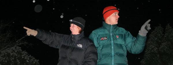 Nyårsfirande på Östra Bokö i Blekinge. Klart koolt med snötäckt skärgård