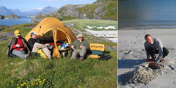 Valspaning från Håkan och Lenas tält | Erik tar de första tagen till sandslottet