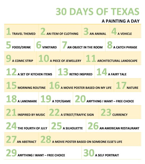 30 Days of Texas Painting Challenge