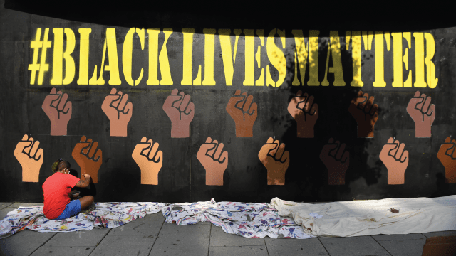 Mural created on 14th nightclub in Washington, D.C. by a BLM demonstrator.