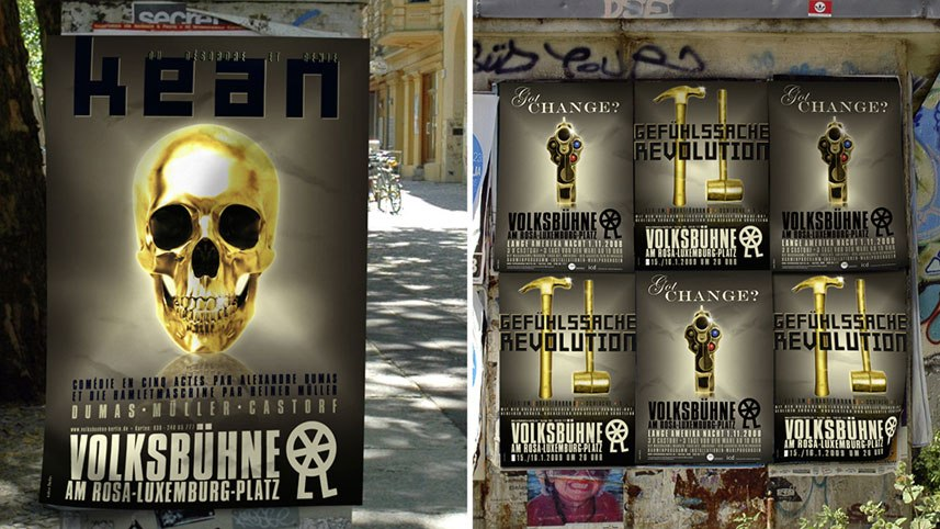 Volksbühne-Plakate-Gold