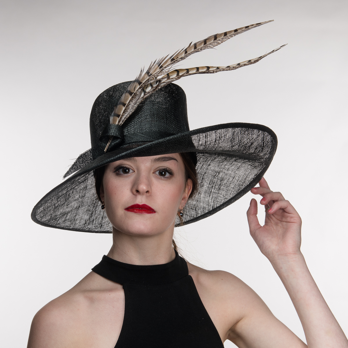 Black Wesern Style Sinamay With Pheasant Feather Hats