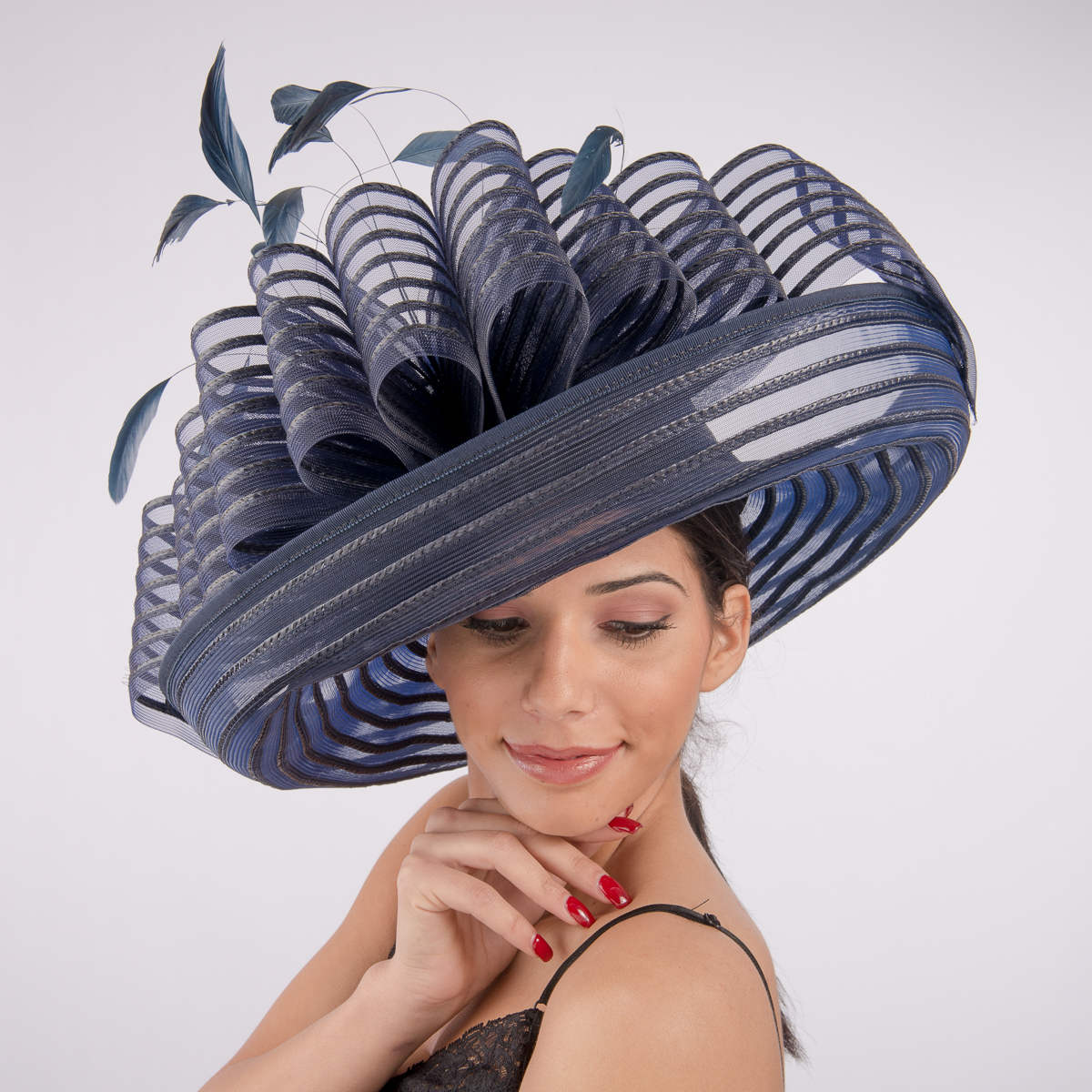 Navy Large Pleated Profile Crinoline Hats AJ425S NV Sun
