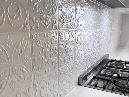 Pressed Metal Splashback Sydney Tiles Kitchen Bathroom