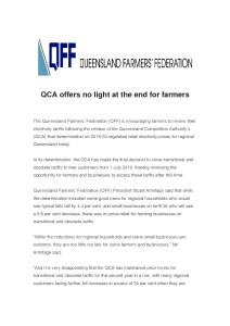 thumbnail of Media Release – QCA offers no light at the end for farmers