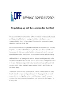 thumbnail of QFF Media Release – Regulating ag not the solution for the Reef