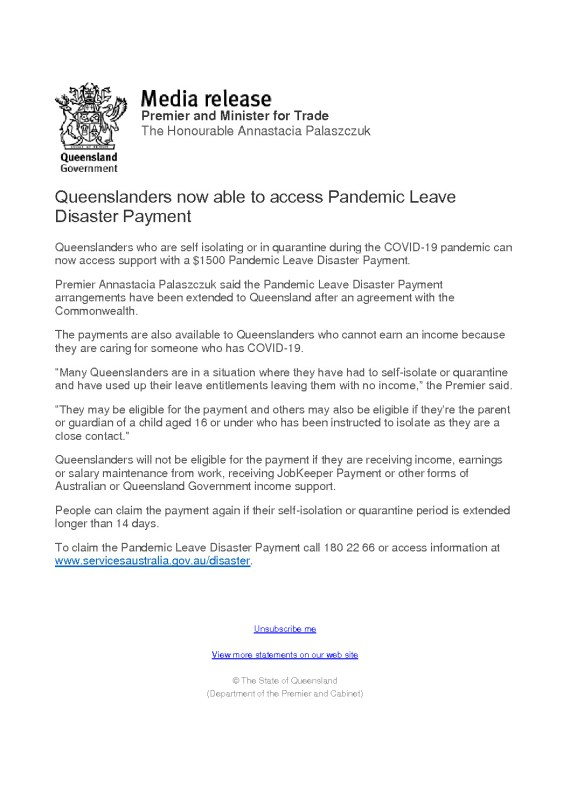 thumbnail of QLD Govt Media Release – Pandemic Leave