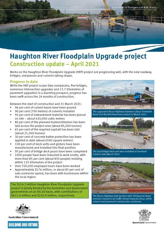 thumbnail of Haughton River Floodplain Upgrade project_Construction Update-April 2021